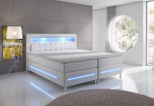 Boxspringbett Florenz Hotel Bett Doppelbett 160x200 Weiß Kunstleder LED Supreme