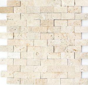 Mosaik Fliese Travertin Naturstein beige Brick Splitface Chiaro Travertin 3D MOS43-46248_f