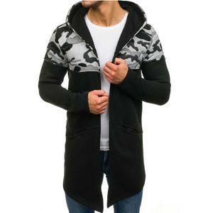 Herren Camouflage Hooded Trenchcoat Cardigan Langarm Outwear Bluse Größe:XL,Farbe:Schwarz