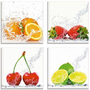 ARTland Glasbild Früchte mit Spritzwasser Glasbild 4er Set, Set-Preis Größe: 20x20 cm
