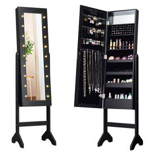 COSTWAY 18 LED-Schmuckschrank neigungsverstellbar, Schmuckregal mit Ganzkörperspiegel und kleinem Schminkspiegel, Schmuck Spiegelschrank für Makeup (Schwarz)