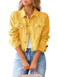 Damen kurze Jeansjacke kurzes schmales Oberteil,Farbe: Gelb,Größe:M