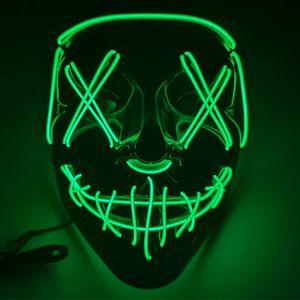 LED Grusel Maske - LED Grusel Maske wie aus the Purge - Halloween Horror Verkleidung Gesichtsmaske
