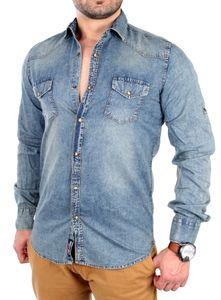 Rusty Neal Jeanshemd Herren Vintage Freizeit Langarmhemd RN-4503 Blau M