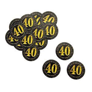 Oblique Unique Konfetti Zahl 40 Geburtstag Jubiläum Hochzeitstag Tisch Deko Streudeko - schwarz gold