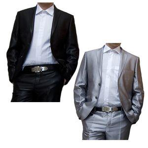 Designer Herren Sakko einzeln tailliert Hochzeit Anzug Sakko Glanz Smoking Jacke 2 Knopf Einreiher, Größe Anzüge:52 L, Farbe Anzüge:Schwarz