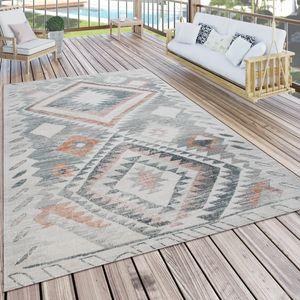 Outdoor Teppich Küchenteppich Balkon Terrasse Ethno Rauten Muster Grau Rot, Grösse:120x160 cm