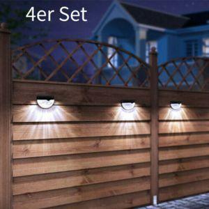 4 Stück 6 LEDs Wandleuchte Solar Wandlampe Strahler Wandspot Gartenlampe Zaunleuchte IP65