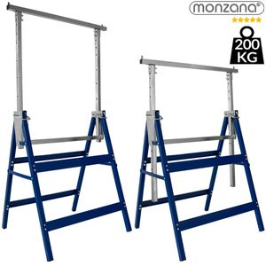 Monzana 2x Gerüstbock 7-fach höhenverstellbar 81-130 cm 400 kg klappbar Metall Unterstellbock Klappbock Arbeitsbock