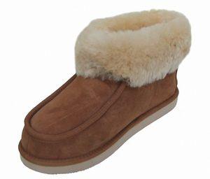 Chamier warme Damen Lammfell Haus Schuhe Paula camel mit Fellkragen, durchgehend nur Lammfell, Mikrogummisohle