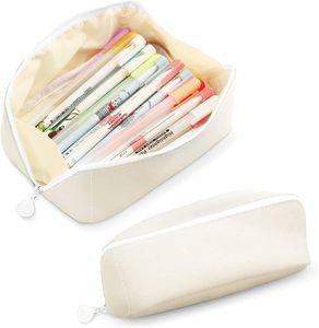 Federmäppchen,Mäppchen,Uni Stiftemappe,Stiftetasche Pencil Case, Schrein mit Reißverschluss,Pencil case,Uni Federtasche Pencil Case,Große Kapazität Briefpapier Pouch(Weiß)