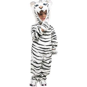 Small Foot 5649 Ganzkörper-Kostüm 'Weißer Tiger' für Kinder, 100% Polyester, weiß/schwarz (1 Stück)