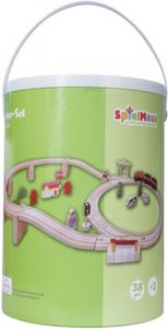 SpielMaus Holzeisenbahn in Trommel, 38 Teile mit Zug und 254cm Gleislänge
