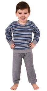 Jungen Kleinkinder Frottee Pyjama Schlafanzug lang mit Bündchen - Streifenoptik - 291 576, Farbe:grau/blau, Größe:98