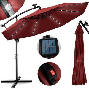 tillvex Alu Ampelschirm Rot LED Solar Ø 300 cm mit Kurbel   Sonnenschirm mit An-/Ausschalter   Gartenschirm UV-Schutz Aluminium   Kurbelschirm mit Ständer Marktschirm wasserdicht
