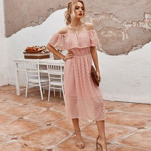 Sexy Frauen einfarbiges Kleid aus der Schulter Hollow Out Hohe Taille Elegantes Partykleid