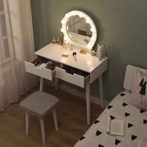 BESTSELLER!! Schminktisch mit LED Beleuchtung Spiegel Hocker und Glühbirnen,Make-up Tisch ,Frisiertisch Kosmetiktisch 131x80x40cm Weiß
