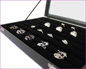 Schmuckkasten Schmucklade Schaukasten Schmuckdisplay mit Glasdeckel für Ringe schwarz