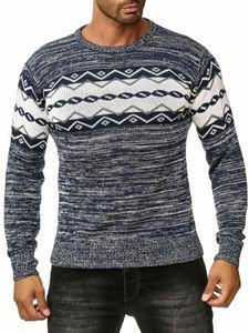 Herren Pullover Norweger Lang Strick Longsleeve Sweat Shirt, Farben:Blau, Größe Pullover:S