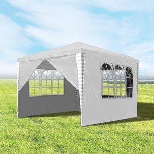 karpal 3x3m Pavillon, Gartenpavillon mit 4 Seitenteile UV-Schutz inkl. Zubehoer, Partyzelt weiss fuer Garten, Terrasse, Party, Markt