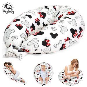 Stillkissen Schwangerschaftskissen zum Schlafen Seitenschläferkissen Lagerungskissen für Baby XXL Pregnancy Pillow Weiß mit Maus Motiv