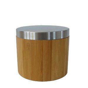 Edle braune Wattedose - Wattepadspender Wattestäbchen Behälter aus hochwertigem Bambus Holz-Ferro