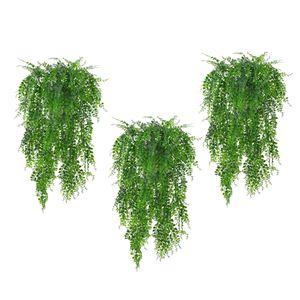 3pcs Kunstpflanzen Hängepflanzen Plastikpflanzen für Innen Außen Haus Balkon Garten Dekoration