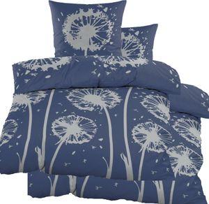 4-tlg. Biber Winter Bettwäsche 2x (135 x 200 + 80x80 cm), 100% Baumwolle, blau Blüten