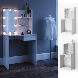 Vicco Schminktisch Dekos Kosmetiktisch Frisierkommode Frisiertisch Spiegel Weiß inklusive LED-Lichterkette