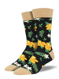 Socksmith - Aloha Floral - Hawaii Herren Socken schwarz Gr. 43 - 46. No Boring Socks!