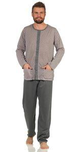 Herren Pyjama Set Hemd & Hose Schlaf-Anzug, Grau L