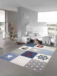 Kinderteppich Spielteppich Junge Teppich Maritim kariert in blau creme grau Größe - 160 cm Rund