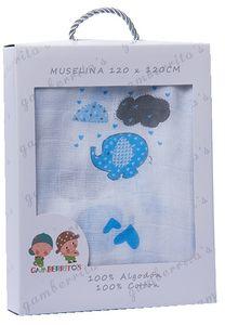 GKA Premium XXL Baby Windel weiß mit blauem Elefant und Wolken Wickeldecke Decke Mullwindel Spucktuch Mulltuch 120x120 cm blau