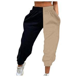 Damen elastische Baggy Pants mit hoher Taille Color Block Jogginghose mit Taschen Größe:M,Farbe:Braun
