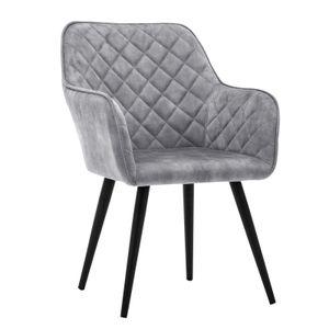 Esszimmerstuhl Polsterstuhl Armstuhl Samt Grau Vintage Design Sessel Metallbeine