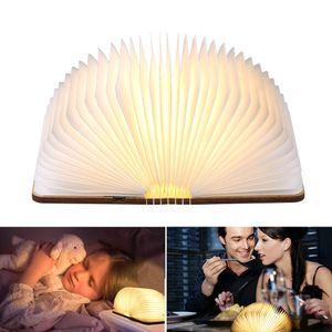 Tomshine Stimmungsbeleuchtung, Buch Lampe, Nachttischlampe, Tischleuchte, Warmweiß aus Holz, Papier mit USB-Kabel, Batteriebetriebene 500LM 360°Faltbar