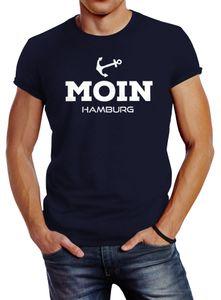 Herren T-Shirt Moin Hamburg Anker Slim Fit Neverless® navy M