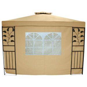 Seitenteile / Seitenwand für Pavillon Livorno beige 2 Stk. mit Fenster
