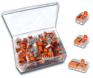 WAGO Box mit 100 Stück Verbindungsklemmen   Serie 221 Hebelklemme   Box Set Verbindungsklemme