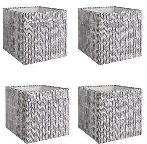 4x Dröna Ikea Fach schwarz/weiß gemustert Box für Regal Kallax Aufbewahrung