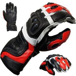 PROANTI Motorradhandschuhe Racing Leder Motorrad Handschuhe Rot