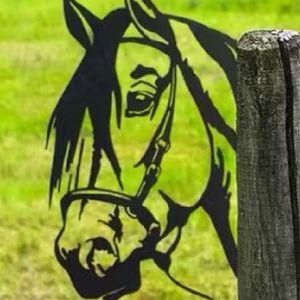 Metall Garten Pferd Silhouetten Dekoration Baumstecker Metall Rost Tierfigur Gartendeko Tier Baumdeko