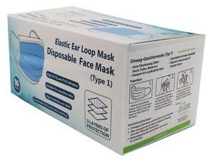 50 Stück 3-lagige Einwegmasken, atmungsaktiv, Infektionsschutz, erhöhte Filterleistung, mit Nasenklammer, civil use