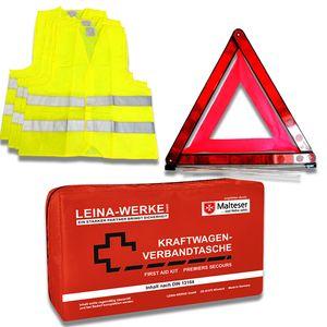 3in1 Pannenset (KFZ-Verbandstasche LEINA Compact Rot + 4x Warnweste Gelb + Warndreieck)