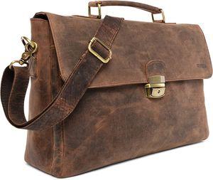 LEABAGS Blackpool Aktentasche 15 Zoll Laptoptasche aus echtem Leder im Vintage Look, Farbe:Brown Fox