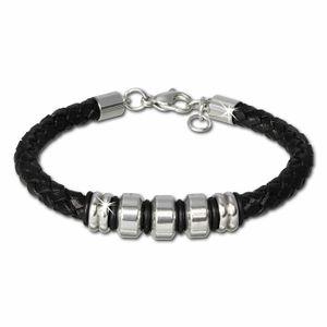 SilberDream Armband Leder Edelstahl Schmuck schwarz geflochten Herren LAP006S