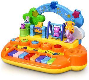 GOPLUS Baby Keyboard, Kinder Musikspielzeug, Lernspielzeug mit Musik, 5 Instrumente von Klavier, Saxofon, Akkordeon, Violine, Glocke, mit Lichtern&8 Liedern, Elektronisches Spielzeug, ab 10 Monaten