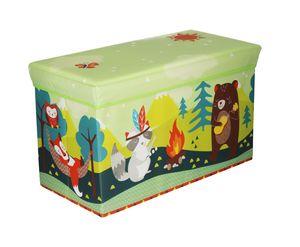 Bieco Aufbewahrungsbox mit Deckel | Waldtiere 60L, faltbar | ca. 60x30x35cm | Spielzeugkiste mit Deckel | Aufbewahrungsbox Kinder | Kisten mit Deckel | Aufbewahrungsbox Groß | Wickeltisch Organizer