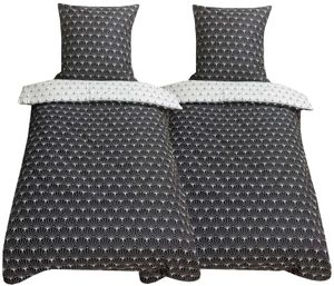 Bettwäsche 135x200 + 80x80 cm Baumwoll-Satin Art Deco gemustert schwarz weiß mit Reißverschluss, 4-tlg