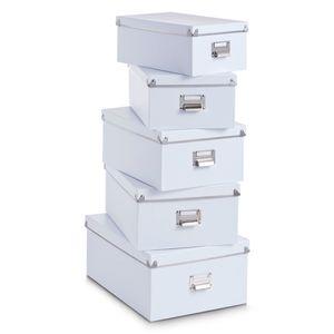 Zeller Boxen-Set, 5-tlg., Pappe, weiß 40x29x17